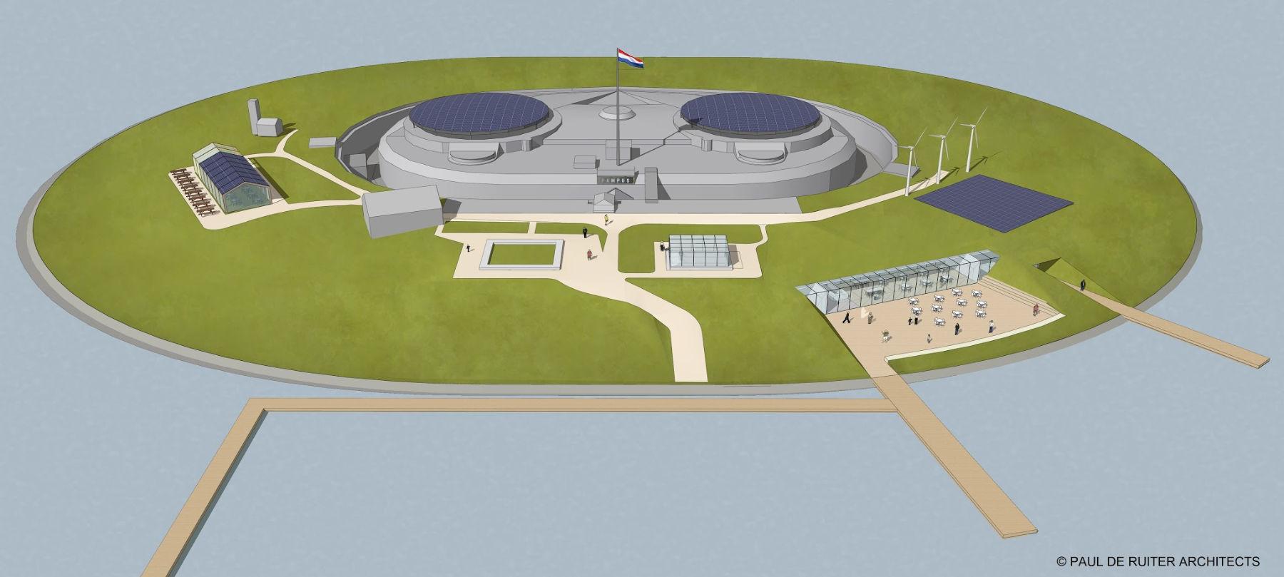 Tekening en schets nr.3 door Paul de Ruiter Architecs van Forteiland Pampus met een nieuw ontvangstgebouw vanwege het project Pampus Duurzaam Zelfvoorzienend