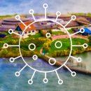 forteiland pampus - eiland vanuit de lucht gezien met uitroep- en vraagtekens vanwege de vragen en antwoorden rondom de corona maatregelen